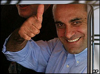 Azzam Azzam gives a thumb up after reaching Israeli territory