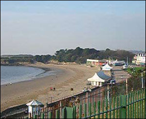 The view of the popular Barry Island beach from the campsite is spectacular