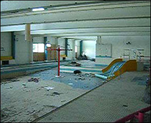 Inside swimming pool at Barry Island's old Butlins camp