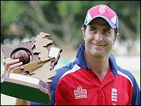 Michael Vaughan holds the series trophy aloft after the cleansweep over Zimbabwe