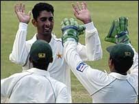 Shabbir Ahmed celebrates a wicket