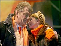 Viktor Yushchenko and Yulia Tymoshenko at a Kiev opposition rally