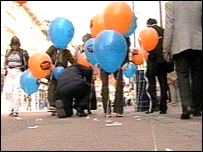 Balloons stuck to chewing gum in Maidstone