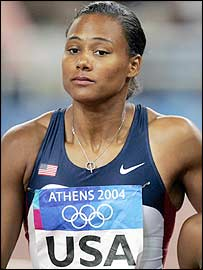 Marion Jones at the Athens Olympics, where she failed to win any medals