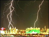 Las Vegas being hit by lightning