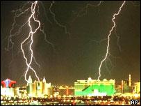 Las Vegas being hit by lightning