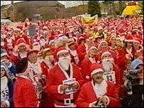 Santas running through Newtown on Sunday