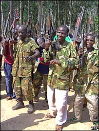 Many Congolese militiamen voluntarily surrendered their weapons to a UN mission