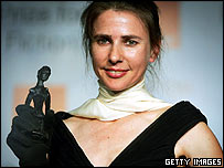 Lionel Shriver with Orange Prize
