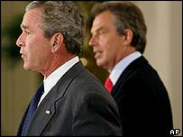 President Bush and UK Prime Minister Tony Blair at a joint news conference in Washington, 7 June, 2005