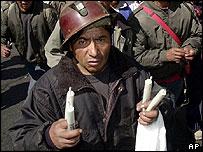 Miner with dynamite in La Paz