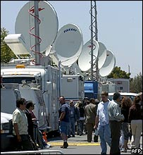 Broadcasting equipment outside Santa Maria courtroom