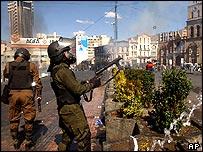 Riot police in La Paz