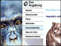 Website screen grab of Augsburg Zoo