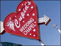 Sign for wedding chapel in Las Vegas, BBC