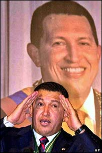 Hugo Chavez speaking as he receives the Gaddafi human rights prize