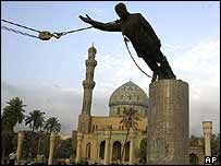 Statue of Saddam Hussein being toppled in Baghdad, April 2003