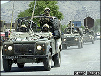 Coalition troops patrolling the streets of Kabul