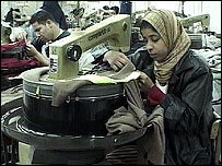 An Egyptian garment factory worker