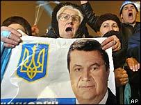 Supporters of Ukrainian Prime Minister Viktor Yanukovych