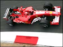 Michael Schumacher in a Ferrari F1 car