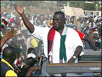 Opposition presidential candidate John Atta Mills on the campaign trail in Ghana 