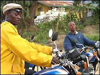 Motorbike taxi riders in Bunia
