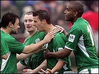 Ian Harte celebrates after scoring a penalty against the Faroe Islands