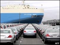Honda cars ready to be shipped overseas