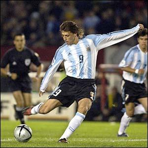 Argentina's Hernan Crespo scores against Brazil