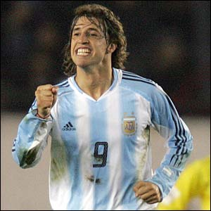 Argentina's Hernan Crespo scores his second goal against Brazil