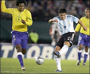 Argentina's Juan Roman Riquelme scores against Brazil