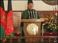 Hamid Karzai delivering his inauguration speech