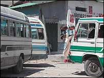 Minibus taxis in a traffic jam