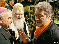 Viktor Yushchenko with clergy