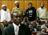 Aboud Rogo Mohammed, Mohammed Kubwa, Mohammed Ali Saleh Nabhan and Omar Said Omar  in an earlier court appearance