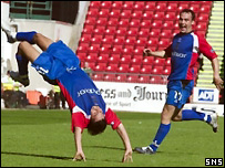 Juanjo celebrates an Inverness goal