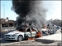 Attack on Iraqi police cars in Ramadi, 7 December 2004