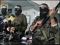 Hamas fighters giving a press conference in Gaza