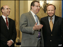 Joel Glazer, left, Bryan Glazer, center, and Tampa Bay Buccaneers team owner and president Malcolm Glazer, right