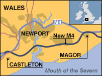 Map of M4 and planned new toll road