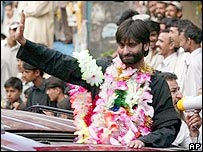 Yasin Malik being greeted in Pakistan