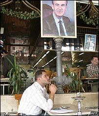 Syrian man smoking in a cafe