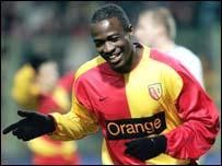 Nigeria striker John Utaka in action for Lens
