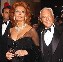 Sofía Loren y Giorgio Armani