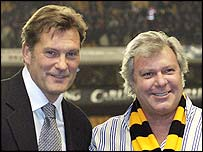 Wolves chairman Rick Haywood introduced Glenn Hoddle to the fans before the match
