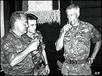 Ratko Mladic (left) drinks with Dutch Col Ton Karremans