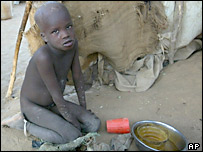 A Sudanese refugee waits for food in a camp on the Sudanese-Chad border. File photo