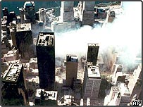 Aerial view of New York's World Trade Center several days after terrorist attack in 2001