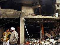 A shop destroyed by a blast in Baghdad